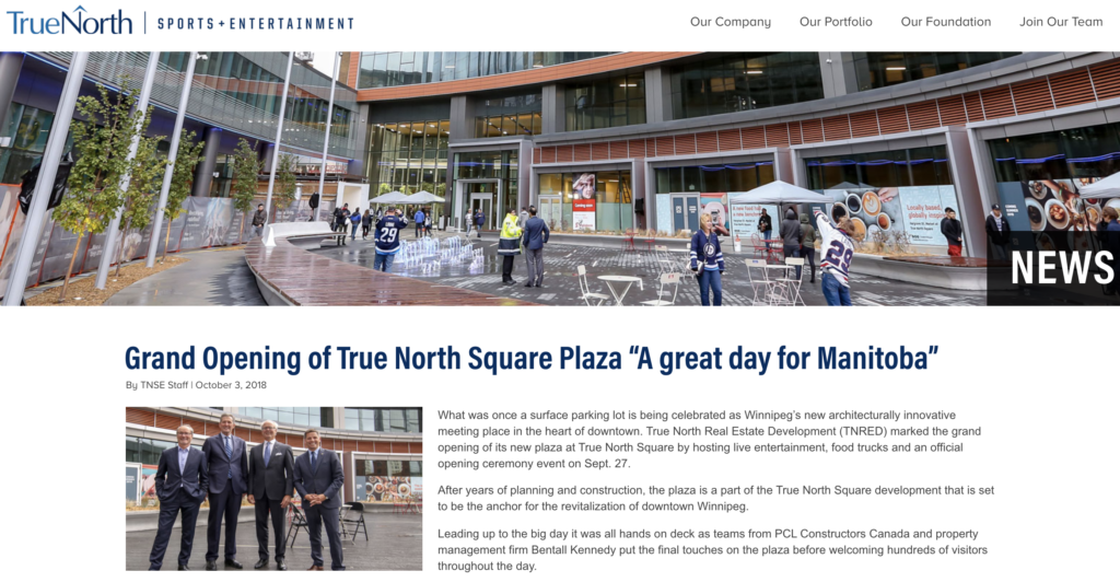 Grand Opening of True North Square Plaza